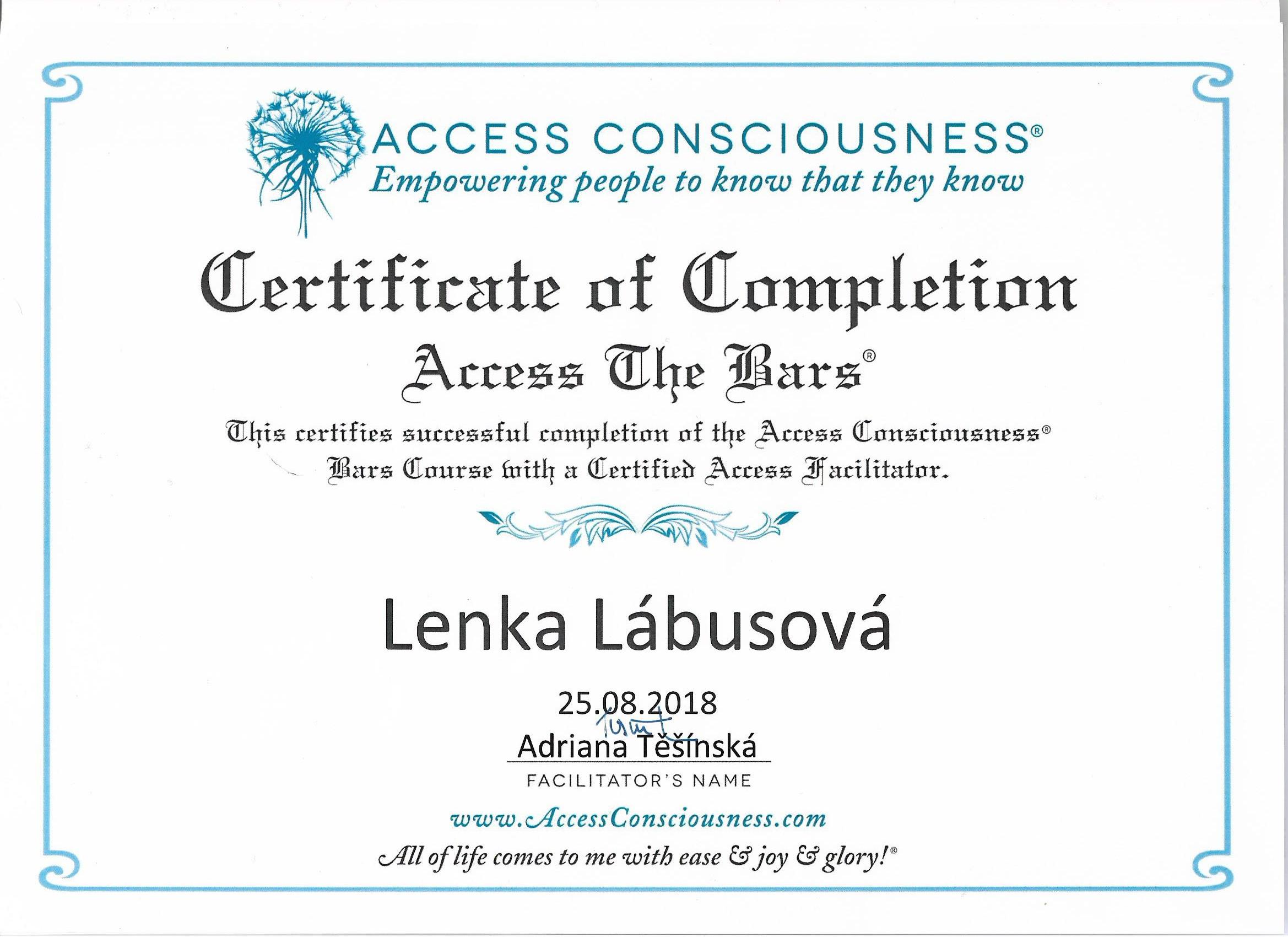 access certifikát 001